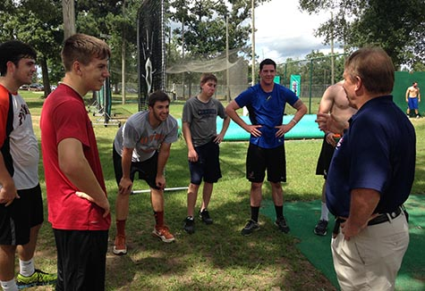 Coach Wolforth with students